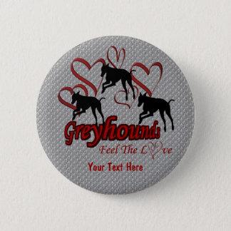 グレイハウンドおよびハート愛犬ボタン 5.7CM 丸型バッジ