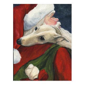 グレイハウンドのサンタのクリスマス犬の芸術の郵便はがき ポストカード