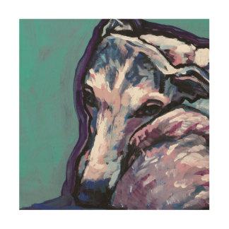 グレイハウンドのwhippet犬のポップアート ウッドウォールアート