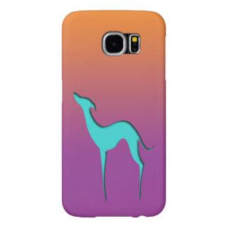 グレイハウンドまたはWhippetの青いシルエットのオレンジバイオレット Samsung Galaxy S6 ケース
