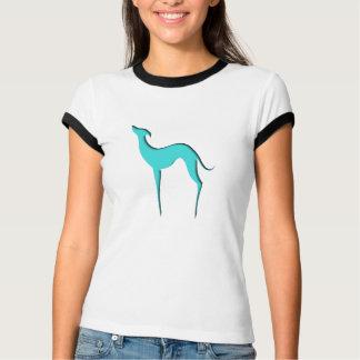 グレイハウンドまたはWhippetの青いシルエットの女性Tシャツ Tシャツ
