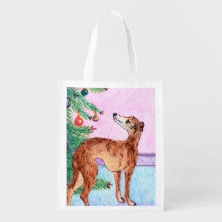 グレイハウンド及びクリスマスツリー、デザイナー買い物袋 エコバッグ