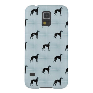 グレイハウンド犬は青いタイル動物パターンのシルエットを描きます GALAXY S5 ケース