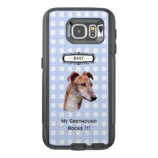 グレイハウンド、Monogramedの青いギンガムS6 オッターボックスSamsung Galaxy S6ケース