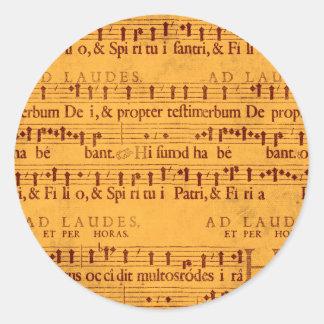 グレゴリオ暦の詠唱音楽スコア ラウンドシール