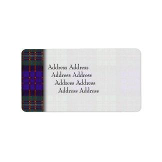 グレンガリー帽の一族の格子縞のスコットランド人のタータンチェックのMacdonald ラベル