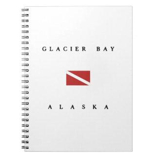 グレーシャー入江のアラスカのスキューバ飛び込みの旗 ノートブック