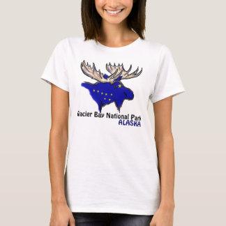 グレーシャー入江の国立公園のアラスカの旗の女性ティー Tシャツ