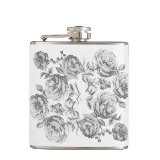 グレースケールの国のコテージの花のフラスコ フラスク