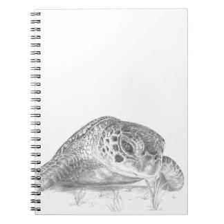 グレースケールの緑のウミガメ ノートブック