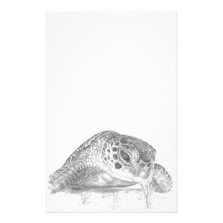 グレースケールの緑のウミガメ 便箋
