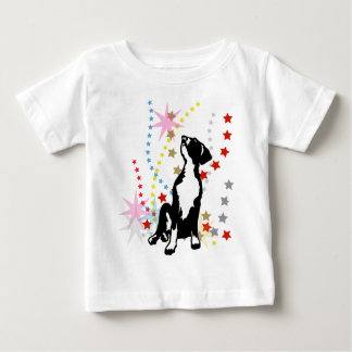 グレートデーンのおもしろいな星 ベビーTシャツ