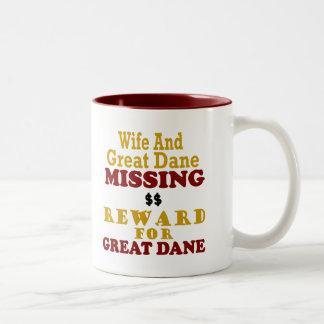 グレートデーンのためのグレートデーン及び妻の行方不明の報酬 ツートーンマグカップ