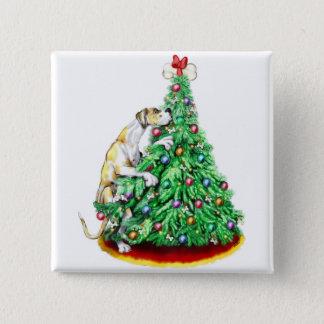 グレートデーンのクリスマスの範囲のゴールFawnQ UC 5.1cm 正方形バッジ