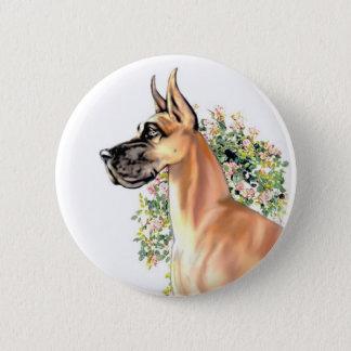 グレートデーンの子鹿の花柄 5.7CM 丸型バッジ