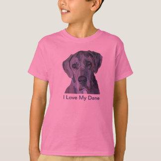 グレートデーンの銀のMerleの女の子のTシャツ Tシャツ