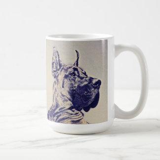 グレートデーンの青いスケッチのマグ コーヒーマグカップ