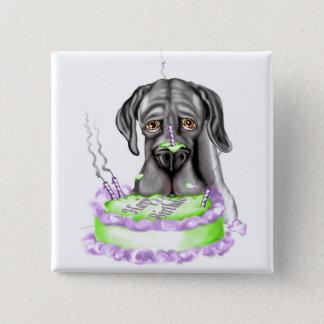 グレートデーンの黒UCのお誕生日ケーキ 5.1CM 正方形バッジ