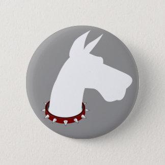 グレートデーンの(白い)シルエット-ボタン 5.7CM 丸型バッジ