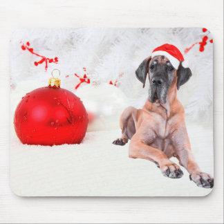 グレートデーン犬の帽子のメリークリスマスの赤いオーナメント マウスパッド