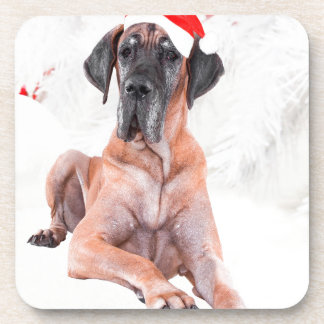 グレートデーン犬の帽子のメリークリスマス コースター