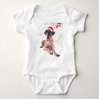グレートデーン犬の帽子のメリークリスマス ベビーボディスーツ