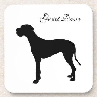 グレートデーン犬の黒のシルエットのコースター コースター
