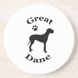 グレートデーン犬のpawprintのシルエットのコースター コースター