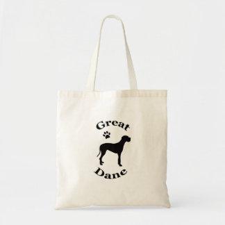 グレートデーン犬のpawprintのシルエットのトートバック トートバッグ