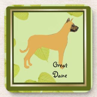 グレートデーン-緑の葉のデザイン コースター