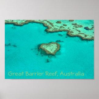 グレート・バリア・リーフのオーストラリアのハートの珊瑚 ポスター