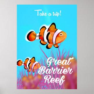 グレート・バリア・リーフのピエロの魚の漫画ポスター ポスター