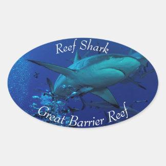 グレート・バリア・リーフの灰色礁の鮫 楕円形シール