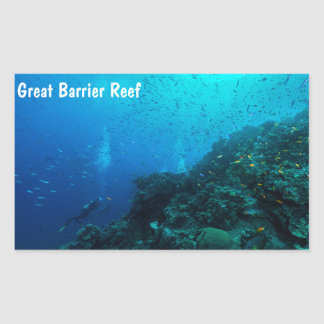 グレート・バリア・リーフの熱帯魚 長方形シール