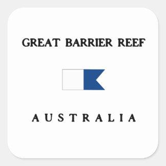 グレート・バリア・リーフオーストラリアのアルファ飛び込みの旗 スクエアシール