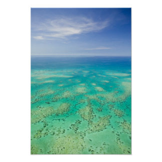 グレート・バリア・リーフ、緑の空中写真 ポスター