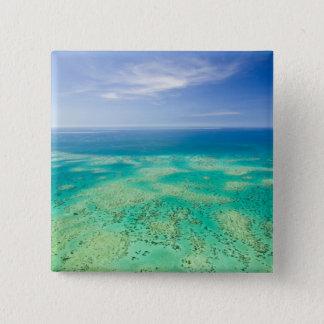 グレート・バリア・リーフ、緑2の空中写真 5.1CM 正方形バッジ