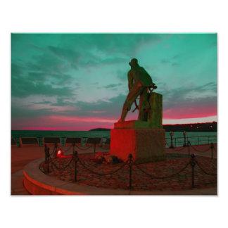 グロスターの漁師の彫像の写真のプリント フォトプリント