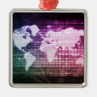 グローバル・ネットワークのつながりおよび総合システム メタルオーナメント