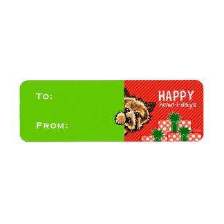ケアーン・テリアのクリスマスのギフトは赤い緑に付けます ラベル