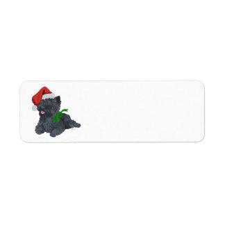 ケアーン・テリアのクリスマス ラベル