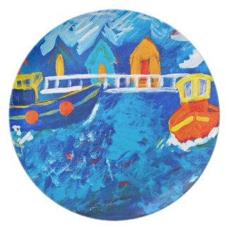 ケイの疾風によって海のアクリルの絵画でボートを引いて下さい プレート