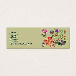 ケシおよびばら色ボタンのプロフィールカード スキニー名刺