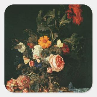 ケシおよびバラが付いている静物画 スクエアシール