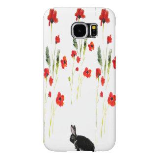ケシによってはバニーウサギの芸術が開花します SAMSUNG GALAXY S6 ケース