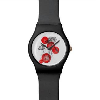 ケシのイラストレーションの腕時計 腕時計