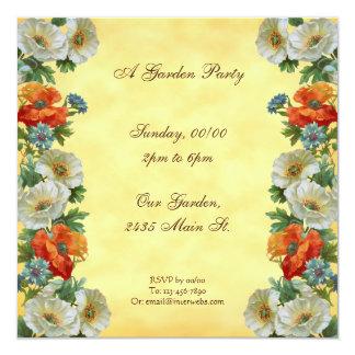 ケシのカスタムな園遊会の正方形の招待状 カード