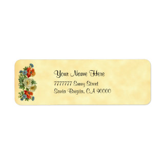 ケシのヤグルマギクのヴィンテージの花柄の宛名ラベル ラベル