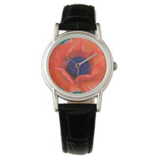 ケシの東洋の赤いオレンジ --- 腕時計