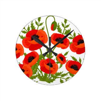 ケシの花 ラウンド壁時計